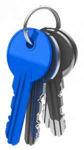 Schlüsselbund mit blauem Schlüssel